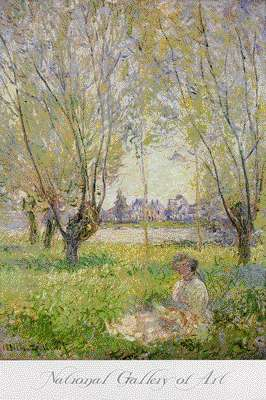 Woman sitting under the willows by claude monet