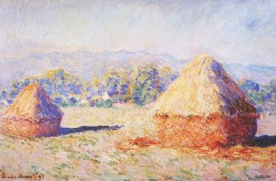 Grainstacks in the sunlight morning effect by monet