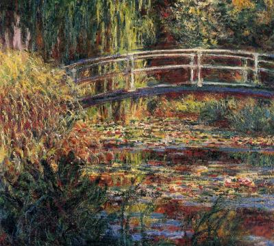 Water Lily pond, symphony in rose by Claude Monet