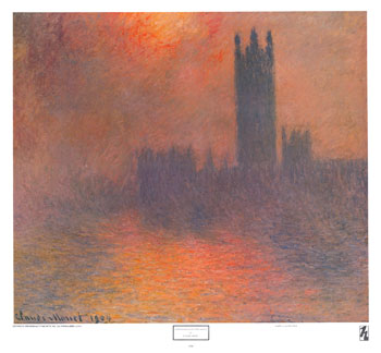 claude monet houses of parliament, effect of sunlight in the fog
